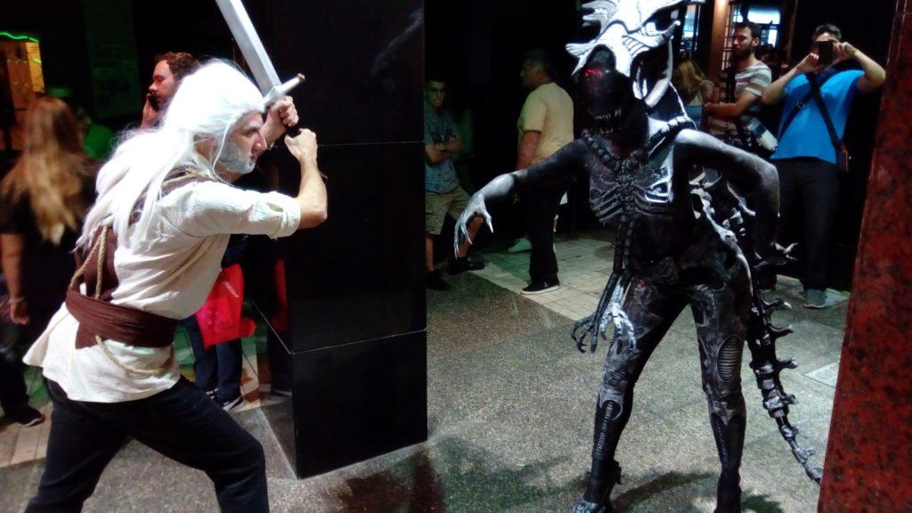 Geralt and Alien queen cosplay