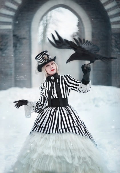 Lady with raven.